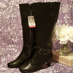 AEROSOLES BLACK EXTENDABLE CALF TALL BOOTS W/HEEL